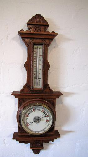Victorian Carved Banjo Barometer (1 of 1)