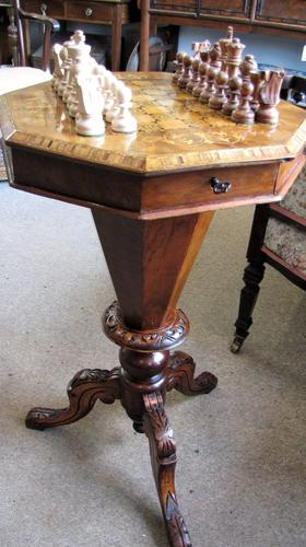 Antique Sewing / Chess Work Table (1 of 1)