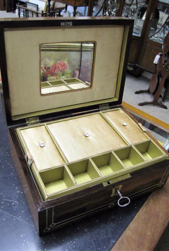Beautiful Inlaid Jewellery Box with Mirror c.1875 (1 of 1)