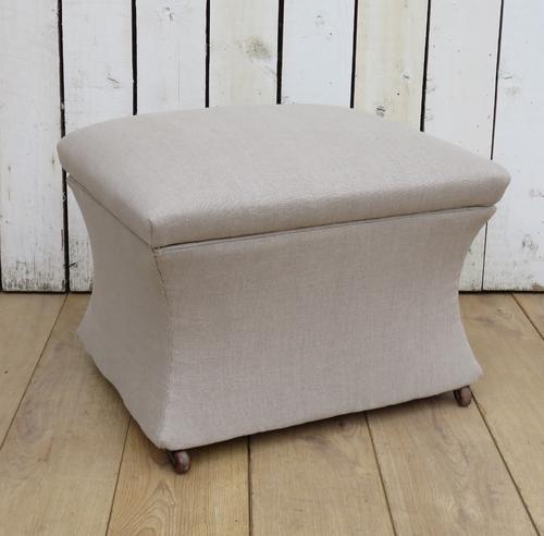 Antique Upholstered Linen Ottoman (1 of 7)