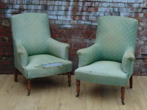 Pair of 19th Century Napoleon III Armchairs for Re-upholstery (1 of 1)