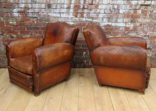 Pair of 1930s Leather Club Armchairs (1 of 1)