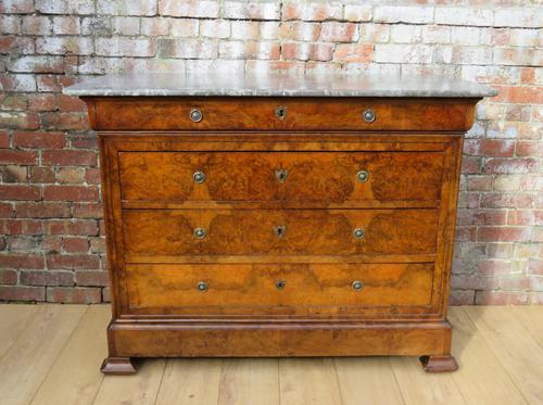 19th Century Burr Walnut Marble Top Chest of Drawers (1 of 1)