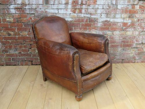 Art Deco Leather Studded Club Chair (1 of 1)