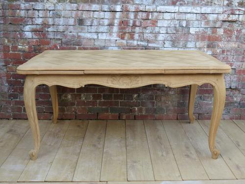 Large Bleached Oak Draw Leaf Dining Table (1 of 1)