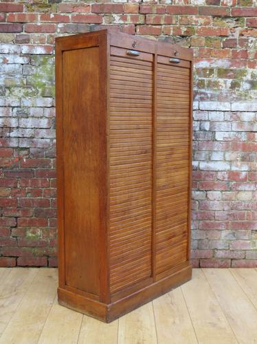 French Oak Double Tambour Front Cabinet (1 of 1)