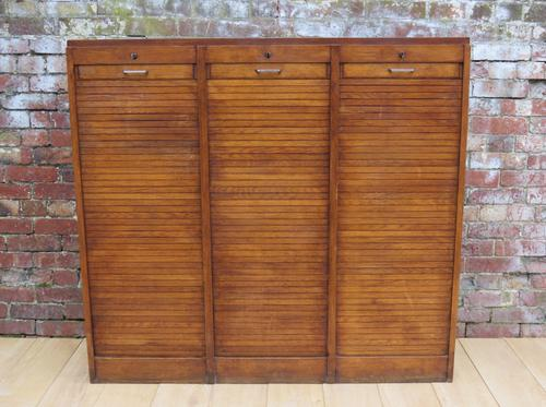 Triple Oak Tambour Front Haberdashery Cabinet (1 of 1)