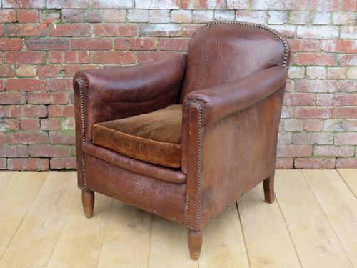1930s French Leather Club Chair (1 of 1)