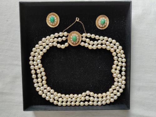 9ct Gold Set / Necklace & Earrings / Pearls & Australian Chrysoprase 1966 (1 of 14)