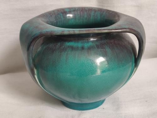 Antique Pilkington's Lancastrian Green Blue Streaked Glaze Triple-Handled Vase Early 20th Century (1 of 8)
