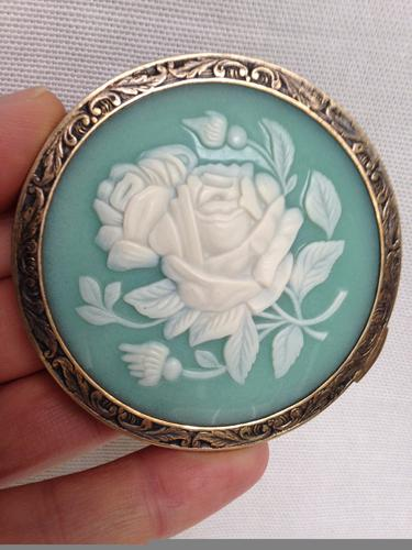 Antique Russian Solid Silver & Blue Cameo with Roses Powder Compact (1 of 1)
