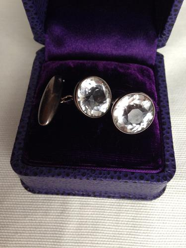 CUFFLINKS Russian Solid Soviet Silver with Rock Crystal 1950s (1 of 1)