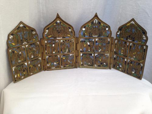 Russian Antique Brass & Enamel Folding Icon in 4 Parts 18th-19th Century (1 of 1)