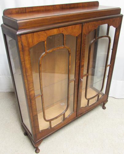 Burr Walnut Art Deco Display Cabinet (1 of 1)