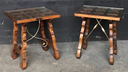 Pair of Spanish Walnut Lamp Tables C.1910 (1 of 8)