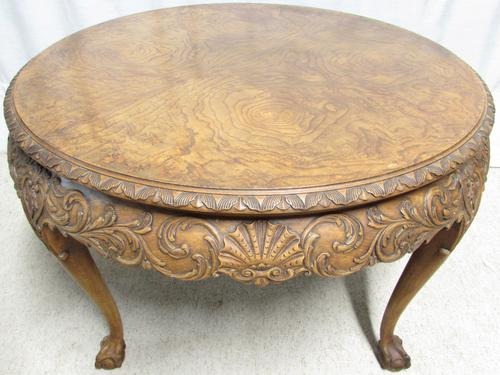 Large Walnut Round Coffee Table (1 of 1)