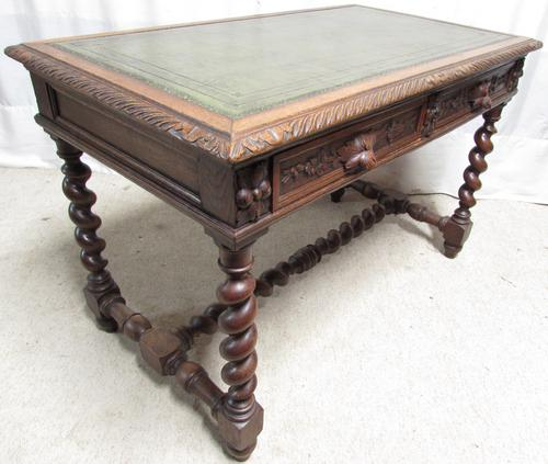 Carved Oak Leather Top Hall Table C.1880 (1 of 1)