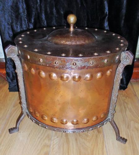 Arts & Crafts Steel & Copper Coal Bucket (1 of 11)