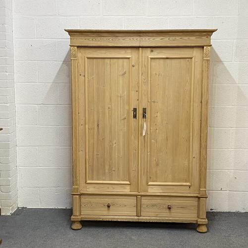 Small Double Antique Pine Wardrobe 'Dismantles' (1 of 7)