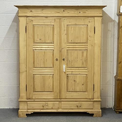 Antique Double Pine Wardrobe with Bottom Drawers 'Dismantles' (1 of 8)