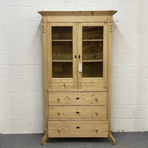 Glazed Antique Pine Cabinet with Chest of Drawers (1 of 7)