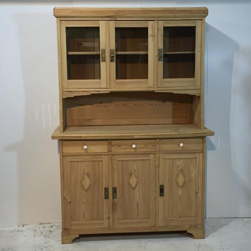 3 Door, 3 Drawer Glazed Antique Pine Dresser (1 of 1)
