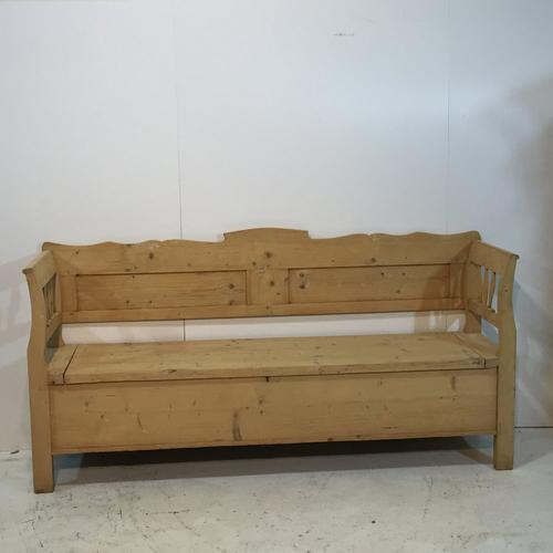 Large Old Pine Bench with lift up storage seat c.1910 (1 of 1)
