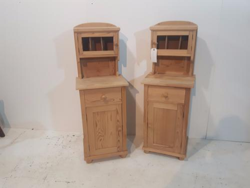 Pine Bedside Cupboards with Cubby Hole Tops c.1920 (1 of 1)
