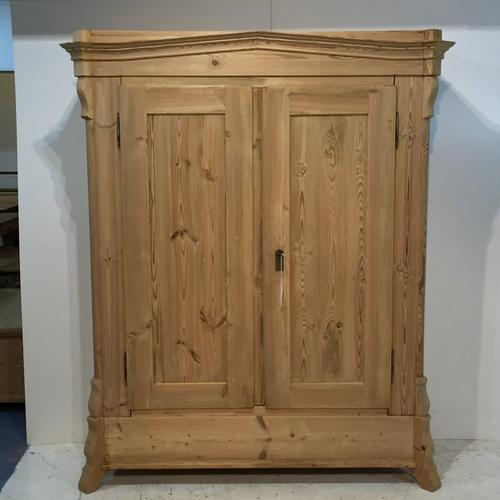 Large Antique Pine Double Wardrobe with Shoe Compartment (1 of 1)
