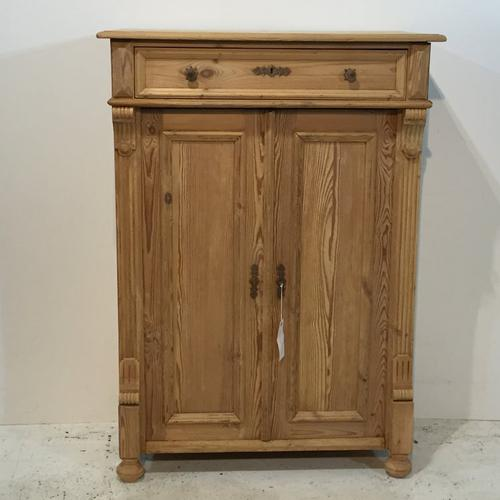 Slender Antique Pine Linen Storage Cupboard c.1910 (1 of 1)