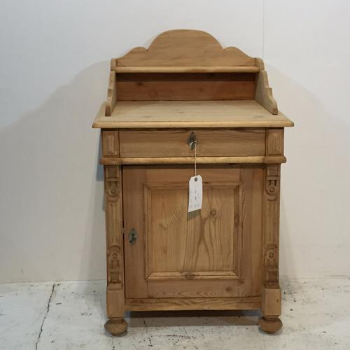 Charming Antique Pine Wash Cupboard with Gallery Back (1 of 1)