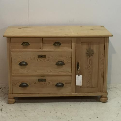 Small Low Pine Sideboard Cupboard c.1920 (1 of 1)
