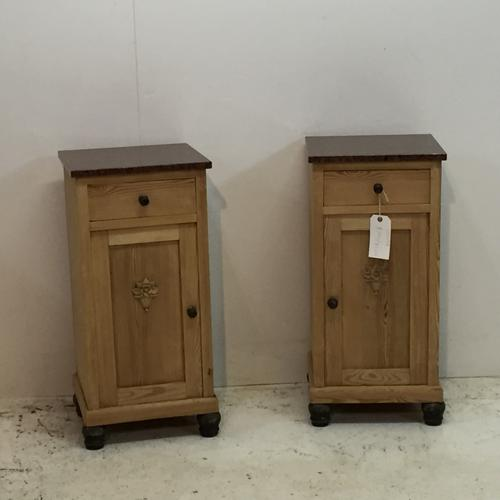 Pair of Pine Bedside Cupboards with Marble Tops c.1920 (1 of 1)