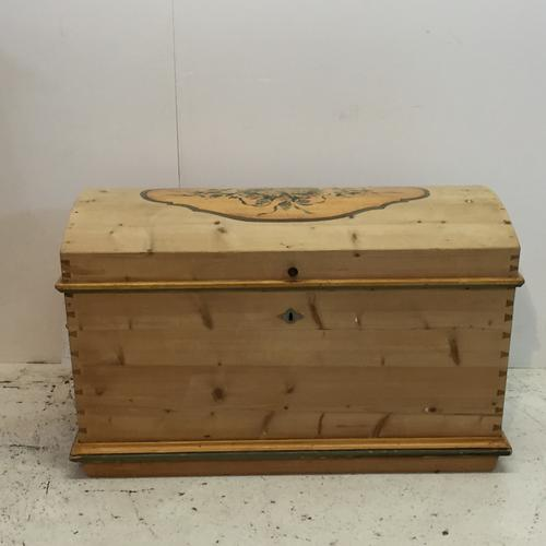 Antique Pine Dome Top Chest with Original Paintwork c.1900 (1 of 1)