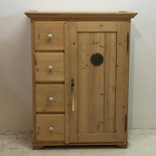 Old Pine Kitchen Larder Cupboard with 4 Drawers c.1910 (1 of 1)