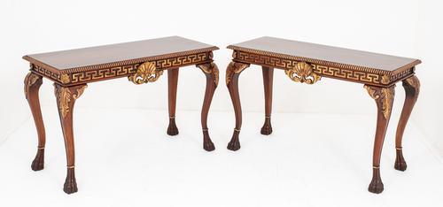 Pair of Mahogany & Gilt Console Tables c.1920 (1 of 9)
