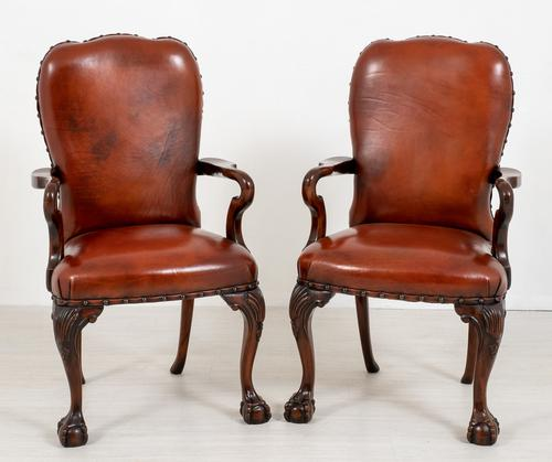 Good Pair of Leather Queen Anne Style Library Chairs (1 of 8)