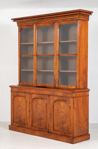 Victorian Walnut 3 Door Library Bookcase (1 of 8)