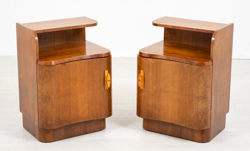 Pair of French Walnut Art Deco Bedside Cabinets (1 of 8)