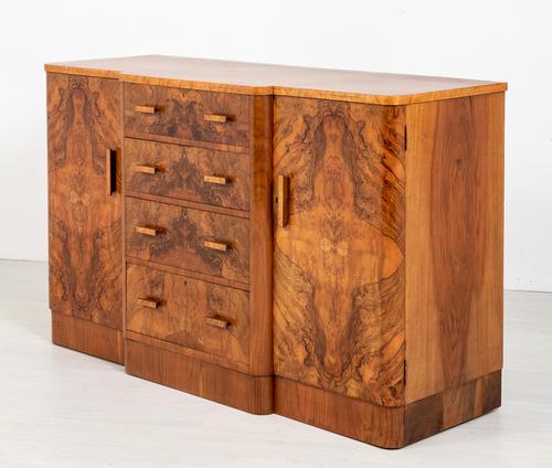 Superb Art Deco Figured Walnut Sideboard (1 of 8)
