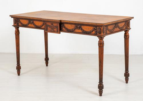 Oak Carved & Inlaid Console Table (1 of 6)