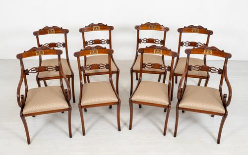 Set of 8 Regency Style Rosewood Brass Inlaid Dining Chairs c.1920 (1 of 16)