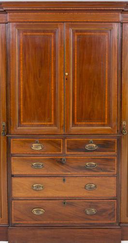 Sheraton Revival Mahogany Breakfront Wardrobe c.1880 (1 of 1)