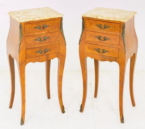 Pair of French Bombe Shaped Bedside Cabinets c.1900 (1 of 1)
