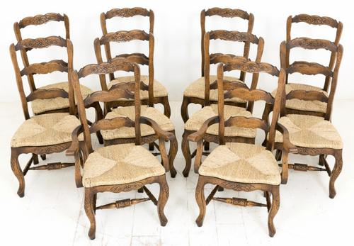 Set of 10 (8 + 2) Oak French Chairs c.1910 (1 of 1)