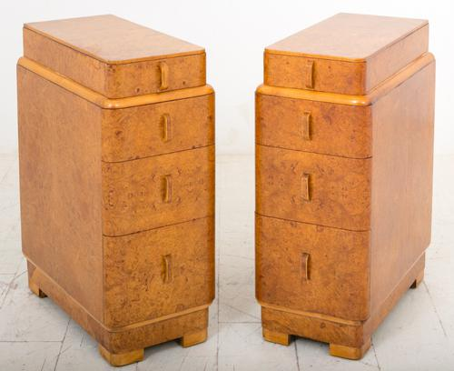 Pair of Burr Walnut Art Deco Bedside Chests (1 of 1)