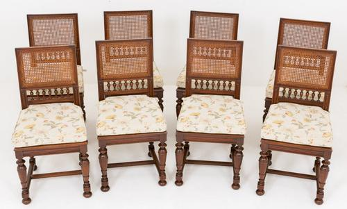 Pretty Set of 8 Oak Dining Chairs c.1890 (1 of 1)