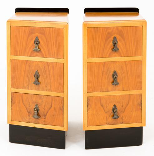 Pair of Walnut Art Deco Bedside Cabinets (1 of 1)