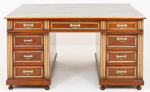 Superb French Mahogany & Gilt 18 Drawer Partners Desk (1 of 1)