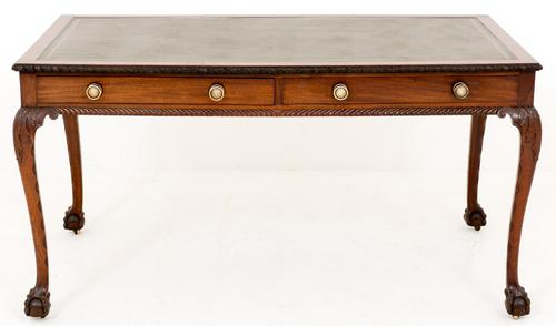 Mahogany 2 Drawer Writing Table in the Chippendale Style c.1920 (1 of 1)